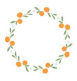 wreath of leaves oranges and orange blossoms on vector image