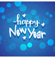 New Year hand drawn lettering on blue background vector image