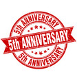 5th anniversary round grunge ribbon stamp vector image vector image
