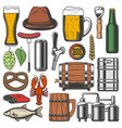 beer bottle alcohol drink glass and mug icons vector image vector image