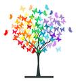 Butterflies rainbow tree vector image vector image