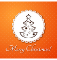 Christmas applique card background Badge with vector image vector image