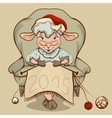 Christmas lamb sitting in a chair and knits symbol vector image vector image