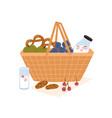 composition picnic basket with bottle milk vector image