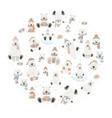 cute polar bear sticker set round design elements vector image vector image