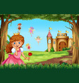 cute princess and fairies in garden vector image vector image