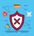 data center security with shield vector image
