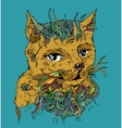 Doodle cat sketch ilustration on white vector image vector image