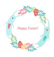 easter round frame - rabbit flowers plants eggs vector image vector image