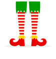 elf legs in red shoes isolated on white background vector image vector image