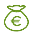 Four Leaf Clover of Euro Sign in Money Bag Icon vector image