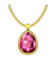 garnet necklace jewelry icon realistic style vector image vector image