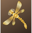 Golden dragonfly on dark background vector image