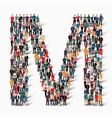 group people shape letter M vector image