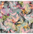 hand drawn tropical background with colibri vector image