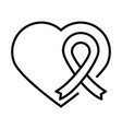 heart love ribbon human rights day line icon vector image vector image