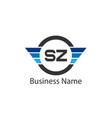 initial letter sz logo template design vector image