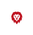 lion face and red head logo vector image vector image