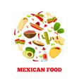 mexican cuisine cartoon vegetables food vector image