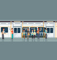 modern subway passenger carriage interior with vector image vector image