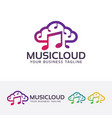 music cloud logo design vector image