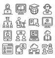 online education icons set line style vector image