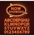 orange neon lamp letters font show cinema vector image vector image