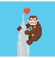 Pixel art style gorilla on a skyscraper vector image vector image