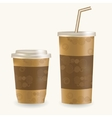 Plastic coffee cup ans disposable cup for vector image