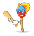 playing baseball match stick character cartoon vector image