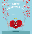 red cartoon heart with crackers and tinsel vector image vector image