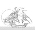 Sailing ship drawing coloring book vector image vector image