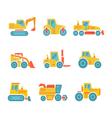 set modern flat icons tractors farm machines vector image