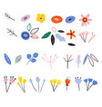 set spring plants in a flat style buds of vector image
