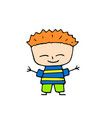 smiling boy with red hair hand-drawn on vector image vector image