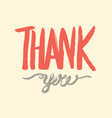 thank you hand drawn lettering calligraphic vector image