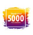 thankyou message for 5000 social media followers vector image vector image