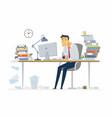 tired office worker - modern cartoon people vector image vector image
