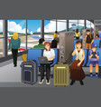 travelers charging their electronic devices in an vector image vector image