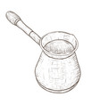 turkish coffee pot - cezve hand drawn sketch vector image