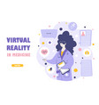 virtual reality medical services landing page vector image vector image