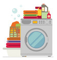washing machine with basket of clean and dirty vector image