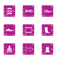 winter weekend icons set grunge style vector image