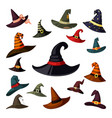 witch hats colored set wizard and magicians caps vector image