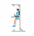 woman doing triceps dip on parallel bars vector image