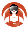 woman wearing virtual reality glasses-05 vector image