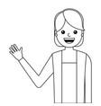 young woman waving happy avatar character vector image vector image