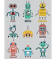 Colorful cut retro robots set vector image