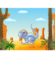 Adorable dinosaur sitting with prehictoric vector image vector image