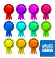 award ribbon set winner badge ceremony vector image vector image
